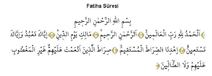 Fatiha Suresi Arapça okunuşu ve Türkçe Meali